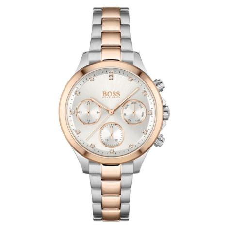 BOSS Casual Analógové hodinky 'Hera'  strieborná / ružové zlato / biela