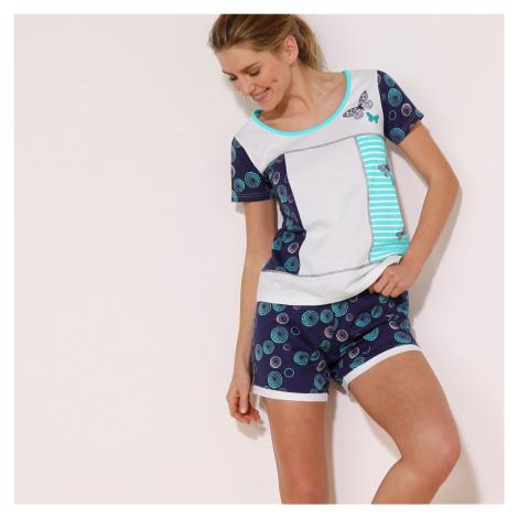 Blancheporte Pyžamo so šortkami a potlačou motýlikov, s krátkym rukávom biela/nám. modrá
