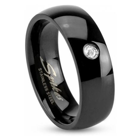 Čierny oceľový prsteň, lesklé zaoblené ramená, číry zirkónik, 6 mm - Veľkosť: 70 mm