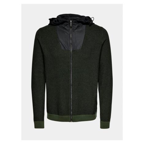 Zelený sveter na zips ONLY & SONS