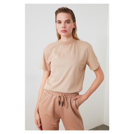 Trendyol Camel Steep Neck Knitted T-Shirt