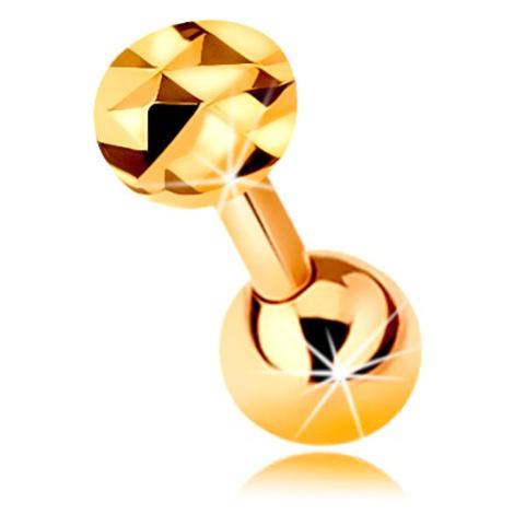 Zlatý 14K piercing do ucha - lesklá rovná činka s guličkou a brúseným kolieskom, 5 mm