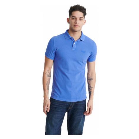 Superdry VINTAGE DESTROYED S/S PIQUE POLO modrá - Pánske tričko polo