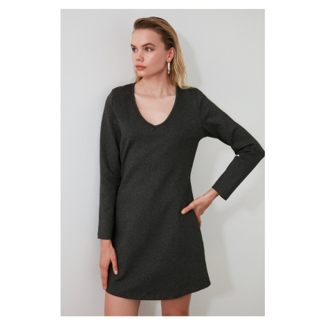 Trendyol Anthracite V Collar Mini Knitting Dress