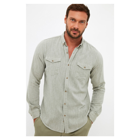 Trendyol Khaki Men's Slim Fit Buttoned Collar Double Covered Pocket Shirt