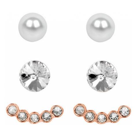 Levien Náušnice Set Ear Cuff v Rose Gold Crystal White