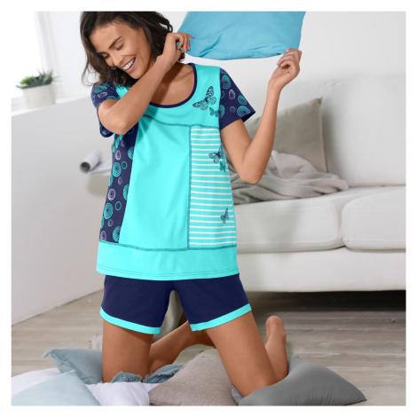 Blancheporte Pyžamo so šortkami a potlačou motýlikov, s krátkym rukávom tyrkysová/nám. modrá