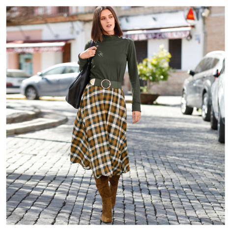 Blancheporte Kockovaná sukňa khaki/medová
