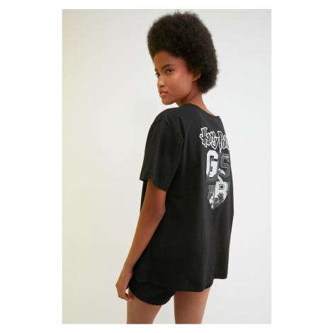 Trendyol Black Harry Potter Licensed Boyfriend Knitted T-shirt T-Shirt
