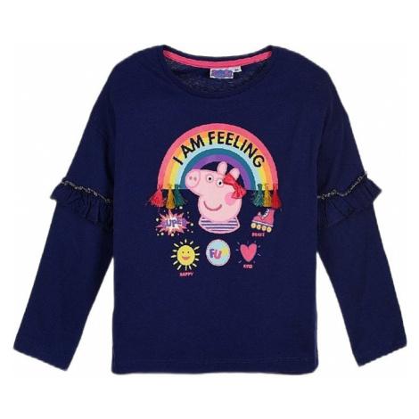 Prasiatko peppa - modré dievčenské tričko s dlhým rukávom Peppa Pig
