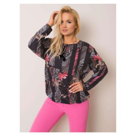 Graphite pink plus size floral blouse
