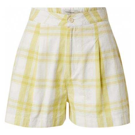 Thinking MU Plisované nohavice  biela / žltá