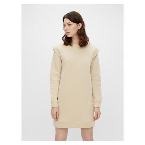 Pieces smotanové/krémové mikinové šaty