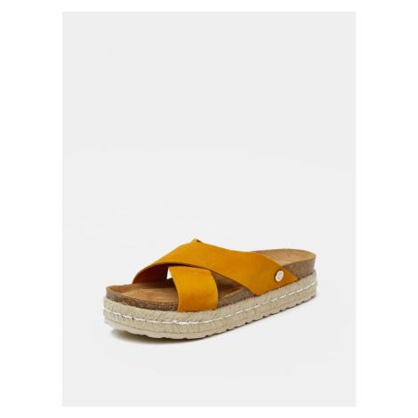 Mustard women's suede slippers OJJU