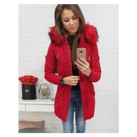 Trendová dámska zimná parka - červená vty0442