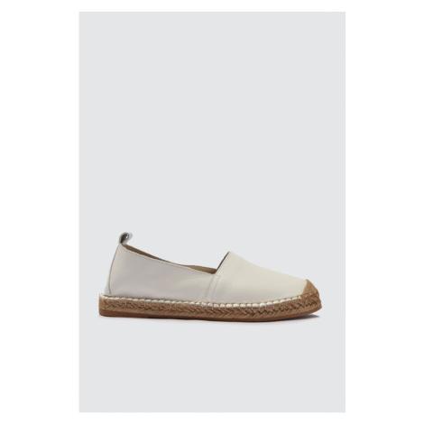 Trendyol White Genuine Leather Straw Bottom Women Flat Shoes