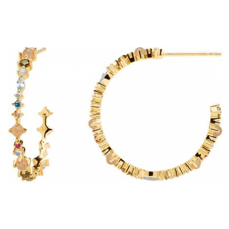 PD PAOLA Pozlátené náušnice kruhy zo striebra s trblietavými zirkónmi HALO Gold AR01-221-U