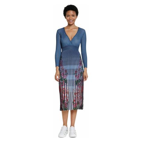 Desigual modré plisované šaty Vest Cloud - XS