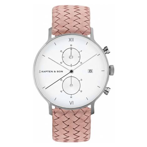 Kapten & Son Analógové hodinky 'Chrono Woven'  biela / strieborná / ružová