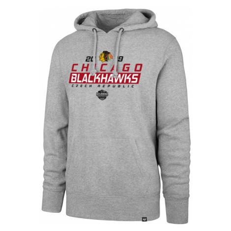 Pánska mikina s kapucňou 47 Brand Headline Hood NHL Chicago Blackhawks šedá GS19