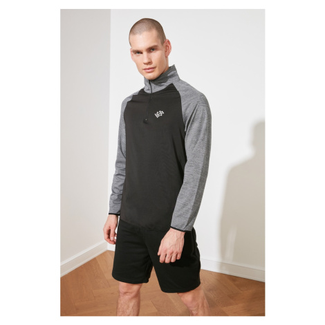Trendyol Anthracite Male Slim Fit Zippered Right Collar Long Sleeve Sweatshirt