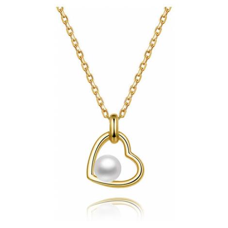 Beneto Pozlátený strieborný náhrdelník s riečnou perlou AGS1230 / 47P-GOLD