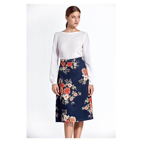Colett Woman's Skirt Csp05 Flowers Navy Blue