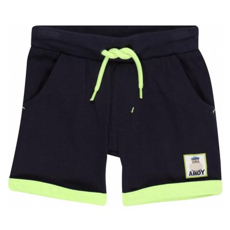 BLUE SEVEN Nohavice  tmavomodrá / neónovo zelená