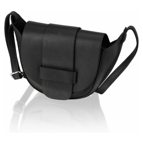 Lazzarini hladká koža malá taška čierna