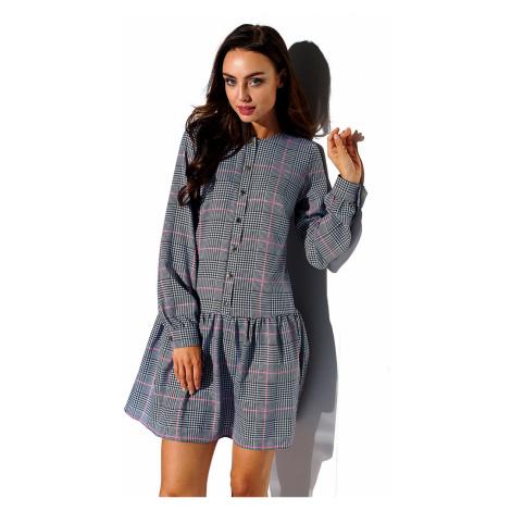 Sivé kárované šaty L311 Lemoniade