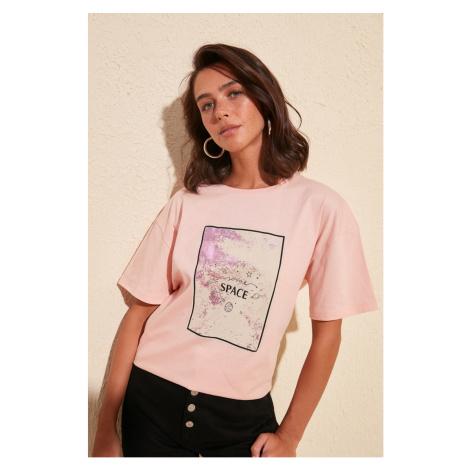 Trendyol Powder Boyfriend Knitted T-Shirt powder pink