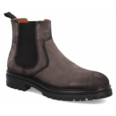 Pat Calvin velúr chelsea boots šedá