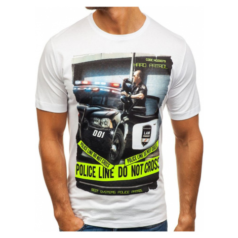 Biele pánske tričko s potlačou BOLF 6298 RIPRO