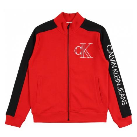 Calvin Klein Jeans Tepláková bunda  červená / čierna / biela