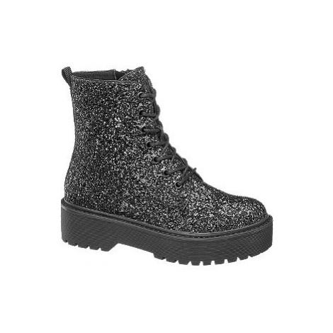 Čierna trblietavá šnurovacia obuv so zipsom Catwalk