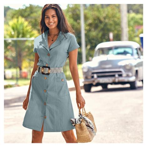 Blancheporte Safari zapínacie šaty sivozelená