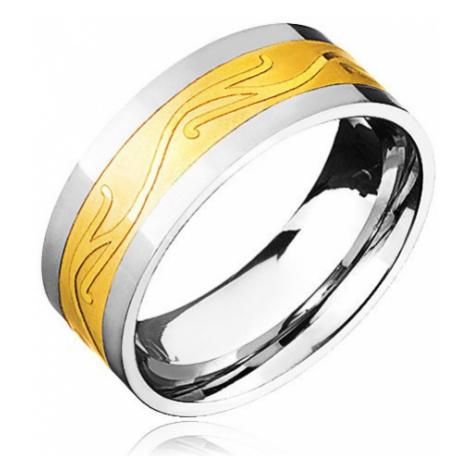 Oceľový prsteň - zlato-striebornej farby so zvlneným ornamentom - Veľkosť: 67 mm