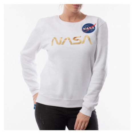 Dámská mikina Alpha Industries WMNS NASA PM Sweater Wmn White - Veľkosť:XL