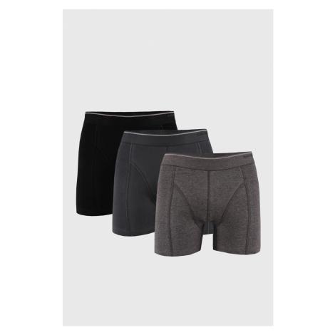 3 PACK čierno-sivých boxeriek Tender cotton Blackspade