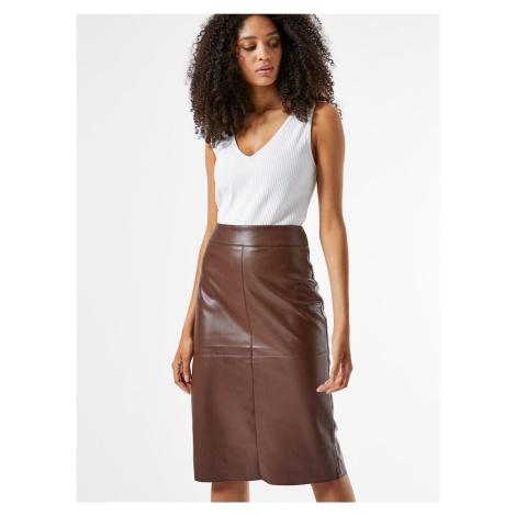 Hnedá púzdrová koženková sukňa Dorothy Perkins