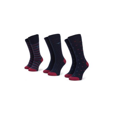 Emporio Armani Súprava 3 párov vysokých pánskych ponožiek 302402 9A282 59635 r.39/46 Tmavomodrá