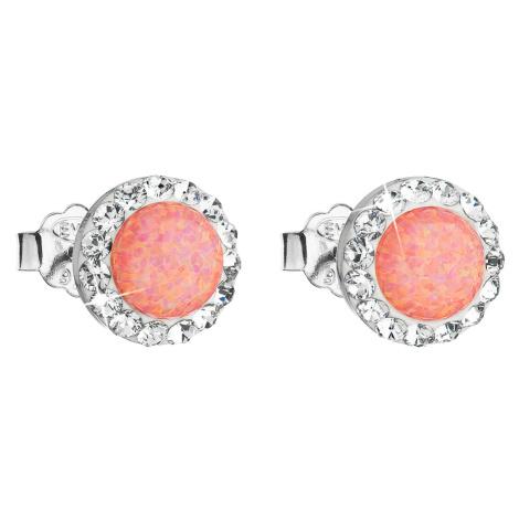 Strieborné náušnice kôstky so syntetickým opál a krištály Swarovski oranžové okrúhle 31217.1