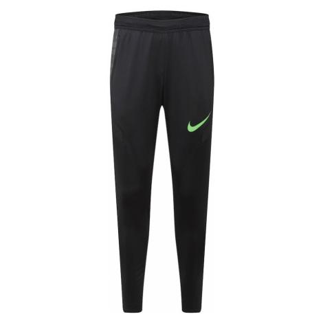 NIKE Športové nohavice 'Strike'  čierna / neónovo zelená