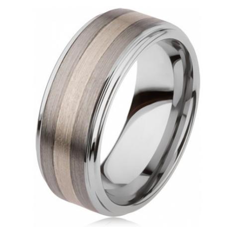 Lesklý prsteň z karbidu wolfrámu s matným povrchom, dvojfarebný pruhovaný motív - Veľkosť: 67 mm