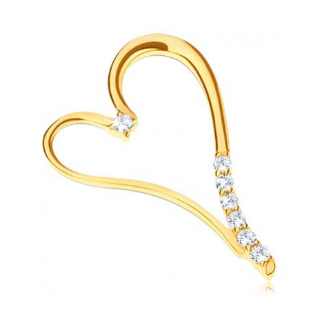 Prívesok v žltom zlate 585 - predĺžené srdce so zirkónikmi na nožičke