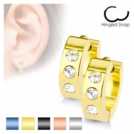 Náušnice z chirurgickej ocele - tri zirkóniky čírej farby - Farba: Zlatá