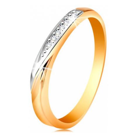 Dvojfarebný zlatý prsteň 585 - vlnka z bieleho zlata a drobných čírych zirkónov - Veľkosť: 60 mm