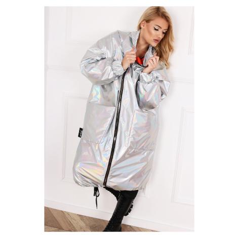 Dámsky strieborný kabát na zips