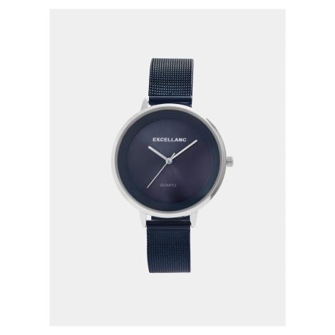 Dámske hodinky s nerezovým remienkom v tmavomodrej farbe Excellanc