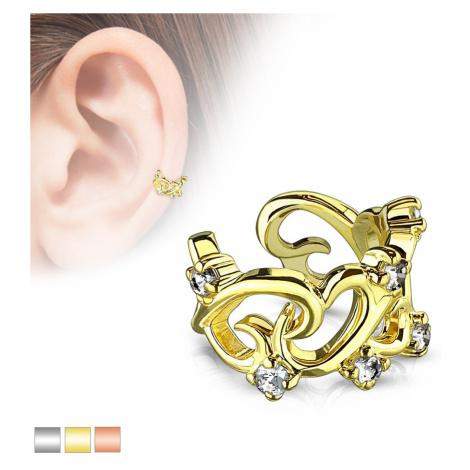 Nepravý piercing do ucha - navzájom prepletené kontúry sŕdc so zirkónmi - Farba piercing: Zlatá